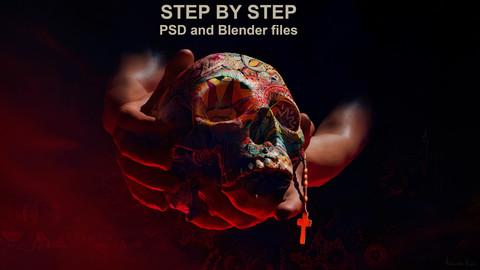 Step by step PSD and Blender Files - El Día de Muertos