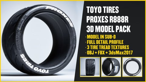TOYO TIRES R888R 3D Model Pack + Low Poly