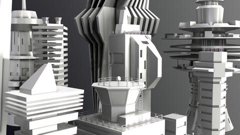 Sci-Fi Kitbash Low-poly 13 buildings