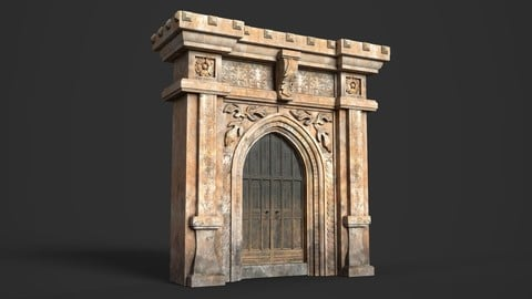 Medieval Wood Door with Stone Arch Low-poly 3D model