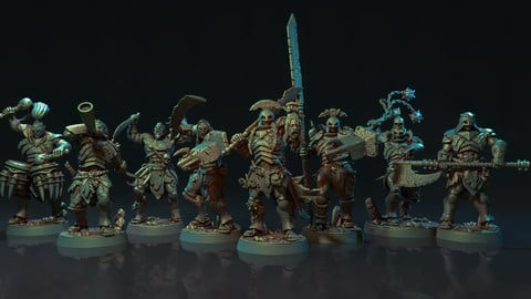 The Obsidian Orc Warband - Pre-Supported 3D Print Miniatutres