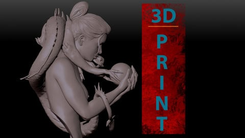 Geisha with dragon for 3D PRINTING