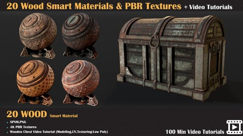20 Wood Smart Materials & PBR Textures + Video Tutorials