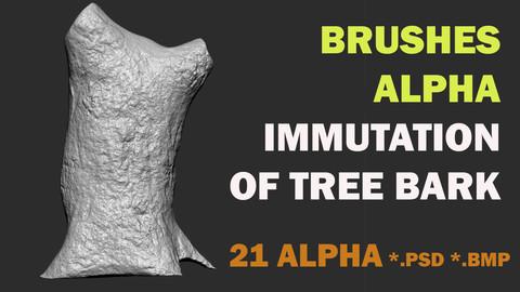 21 ALPHA BRUSH FOR ZBRUSH - TREE BARK IMMUTATION