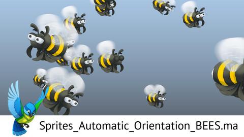 Swarm of bees. Maya nParticle Preset (animated sprites).