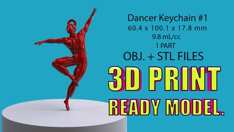 Dancer Keychain #1. (3D Printable model)