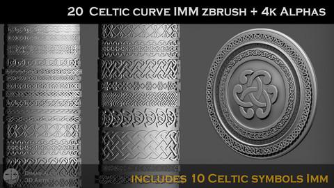 🐗 🪓  20  Celtic / Viking curve IMM zbrush + 4k Alphas