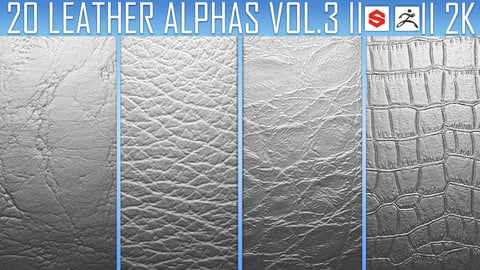 20 Leather Alphas Vol.3 (ZBrush, Substance, 2K)