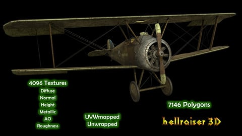 Sopwith Camel Aircraft - PBR - Textured