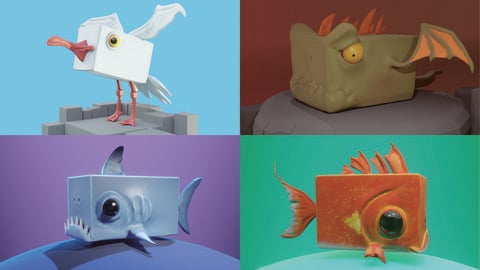 Stylized Creatures PACK Low-poly