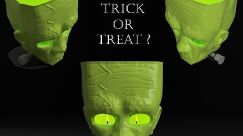 Halloween - 3D Franky Tealight Holder_ Just 3D Print!