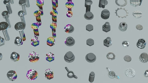 Screws, Nuts and Bolts Model Pack 01