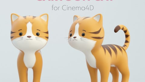 Cartoon Striped Cat Rig for Cinema4D