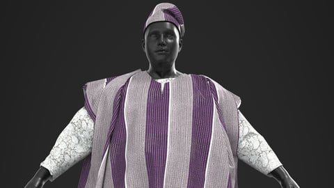 AGBADA 3D African Design Ready To Use In Your Project - Marvelous Designer / Clo3d project + Cinema 4D + FBX + Materials