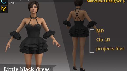 Woman's Sexy Black Dress Clo3d, Marvelous designer.
