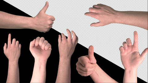 Finger touch screen set on transparent background