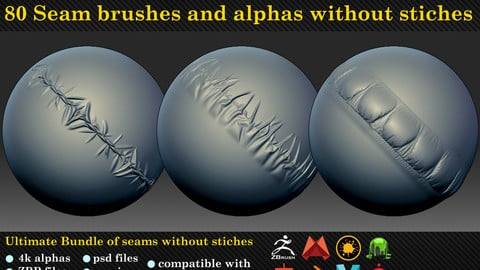 80 seam brushes and alphas without stiches