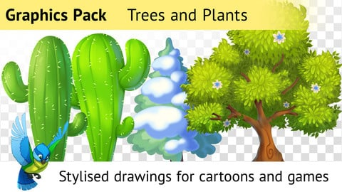 Graphics Pack—Drawn Trees and Plants