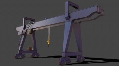 PBR Double Girder Gantry Crane V2 - Blue Dark