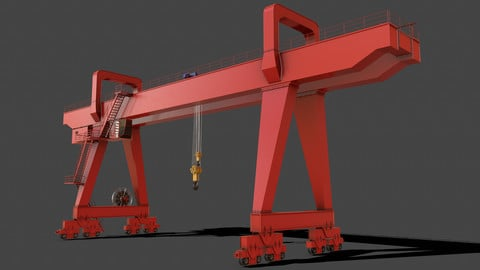PBR Double Girder Gantry Crane V2 - Red