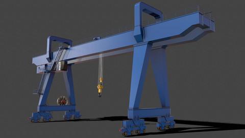 PBR Double Girder Gantry Crane V2 - Blue