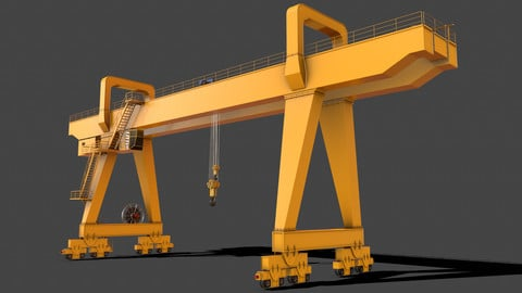 PBR Double Girder Gantry Crane V2 - Yellow