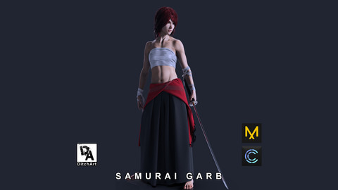 Samurai garb consisting of Uwagi top, Hakama pants and arm and chest straps