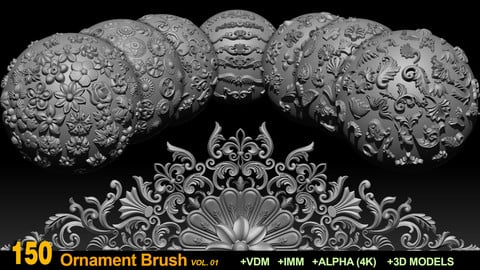150 Ornament Brushes and Alphas + 3D Models VOL 01