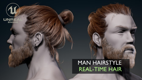 Real-Time Man Hair (Hairstyle, Beard, Eyebrows for Games)