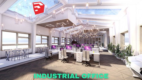 Industrial Office on Attic with Skylights Scene - SketchUp