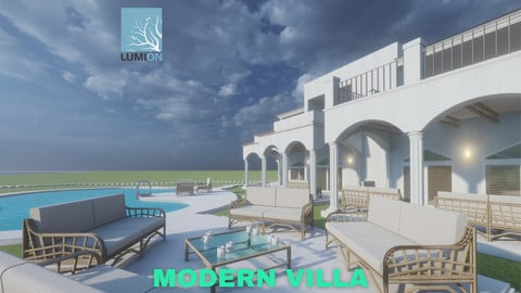 Modern Villa with Private Pool on Beachfront Scene - Lumion - Low Poly