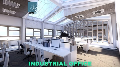 Industrial Office on Attic with Skylights Scene - Lumion - Low Poly