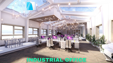 Industrial Office on Attic with Skylights Scene - Archicad