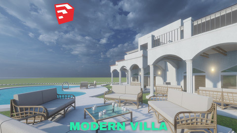 Modern Villa with Private Pool on Beachfront Scene - SketchUp - Low Poly