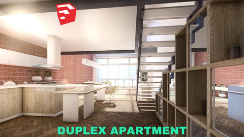 Modern Duplex Apartment Scene - SketchUp - Low Poly
