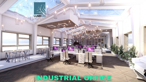 Industrial Office on Attic with Skylights Scene - Lumion