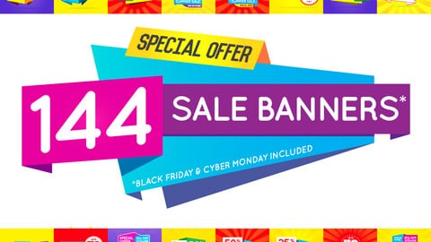 144 Awesome Sale Banners Shape