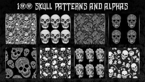 100 Skull patterns and alphas