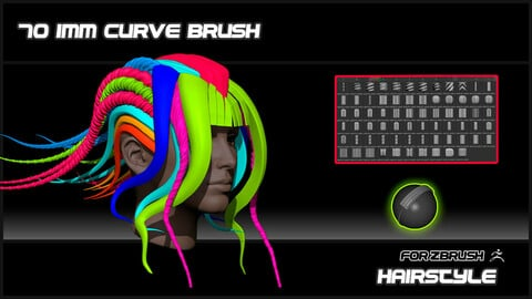 70 IMM CURVE BRUSH HAIRSTYLE FOR ZBRUSH