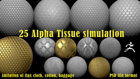 25 alpha with imitation of tissue