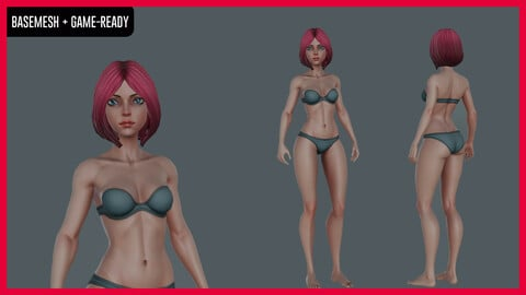 Stylized Female character Basemesh - Game-ready