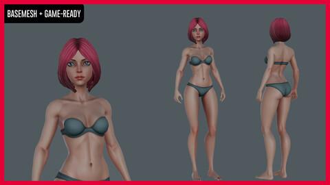 Stylized Female character Basemesh - Game-ready