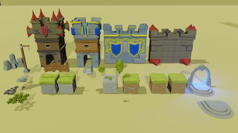 Lowpoly_game_asset\ medieval castle
