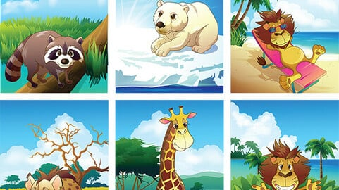 Animal Life Cartoon Collection, Vector EPS