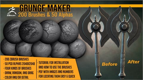 Grunge Maker: 200 ZBrush Brushes and 50 Alphas