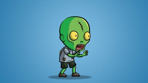 Scar Forehead Zombie 2D Character Sprite