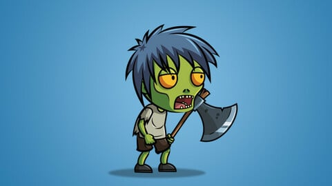 Anime Zombie 2D Character Sprite