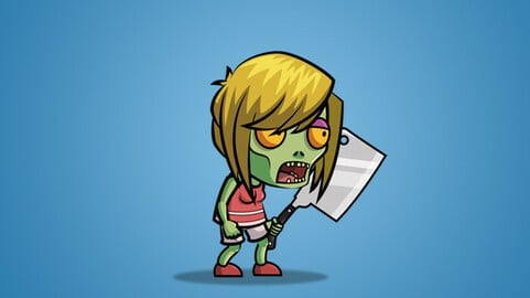 Meat Clever Zombie Wife 2D Character Sprite