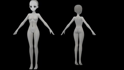 BLI_D Anime body model +Gray Texture MAP +@ Handpainted Fast video 4X