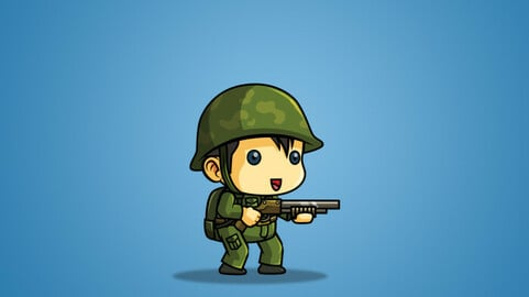 Tiny Chinese Soldier 2D Character Sprite